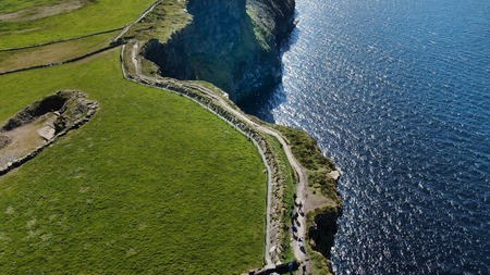 Cliffs of Moher Coastal walk from above - aerial drone footage - travel photography