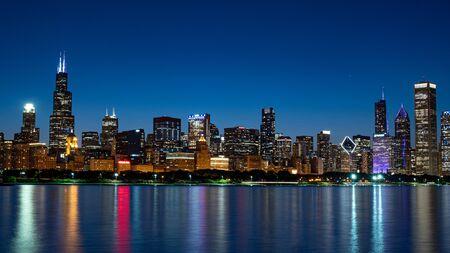 The Skyline of Chicago at night Reklamní fotografie