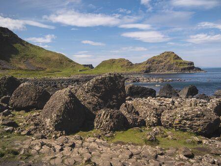 Famous rocks of Giants Causeway in North Ireland