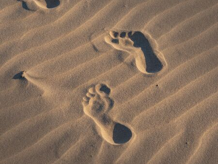 Footsteps in the sand on a beach