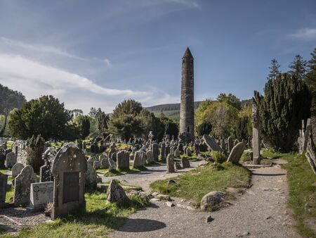 The famous ancient monasty of Glendalough in the Wicklow Mountains of Ireland