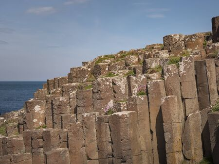 Famous rocks of Giants Causeway in North Ireland