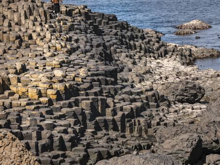 The typical rock formations of Giants Causeway in Northern Ireland