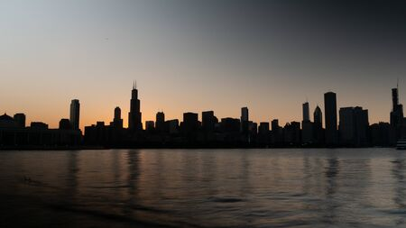 Silhouette of Chicago skyline in the evening