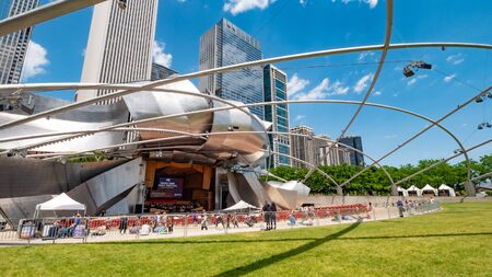 Modern Jay Pritzker Pavilion and concert stage in Chicago - CHICAGO, USA - JUNE 12, 2019