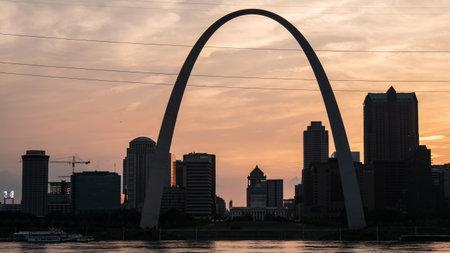 Saint Louis skyline at sunset - ST. LOUIS, USA - JUNE 19, 2019 Editorial