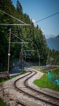 Railway tracks in the Swiss Alps