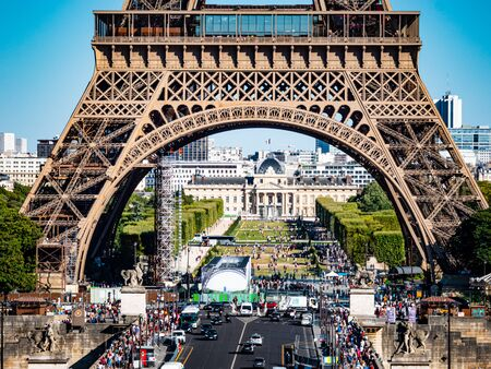 Eiffel Tower and Military School in Paris - Paris street photography 스톡 콘텐츠
