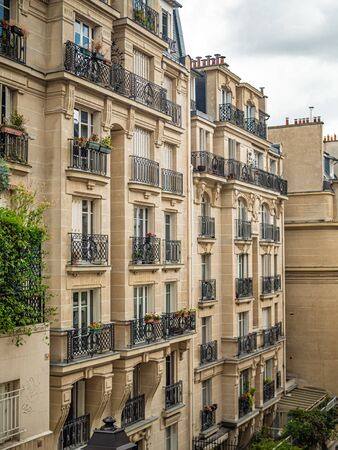 Typical house facades in Paris