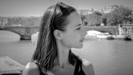 French girl in the city of Paris Reklamní fotografie