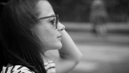 Portrait shot of a young woman in the streets of Paris Reklamní fotografie