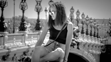 Relaxing at Alexandre III Bridge in Paris