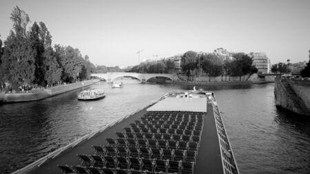 Beautiful River Seine in Paris - evening view - PARIS, FRANCE - JULY 29, 2019