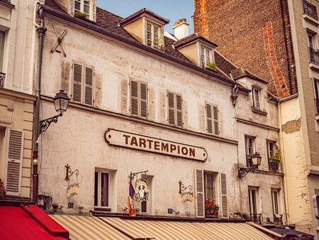 Old cafe Tartempion in Paris on Montmarte Hill - PARIS, FRANCE - JULY 29, 2019 Reklamní fotografie