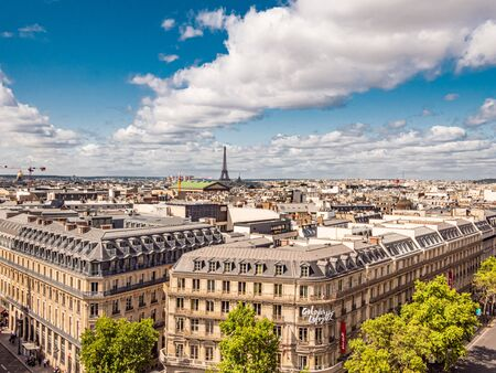 Aerial view over Paris with Eiffel Tower