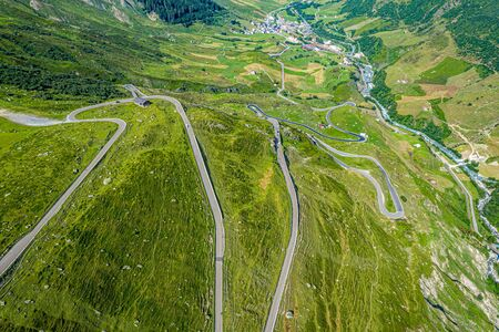 Famous Furkapass in the Swiss Alps - Switzerland from above