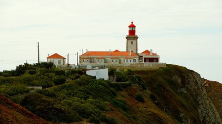 The lighthouse of Cabo Da Roca in Portugal - travel photography Stok Fotoğraf