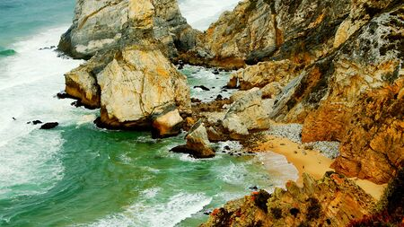 Natural Park of Sintra at Cape Roca in Portugal called Cabo de Roca - travel photography 版權商用圖片