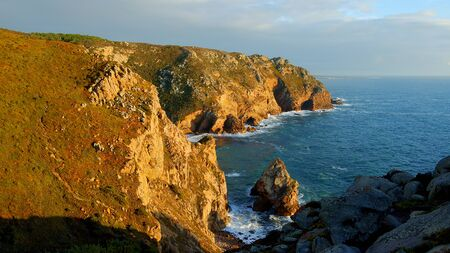 Wonderful place in Portugal - Cabo Da Roca at the Atlantic ocean coast - sunset view - travel photography Stok Fotoğraf - 133444335