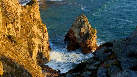 Amazing coast of Cabo Da Roca in Portugal at sunset - travel photography Stok Fotoğraf