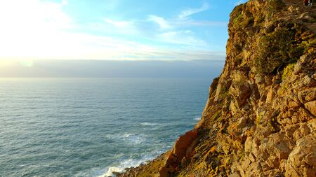 Wonderful place in Portugal - Cabo Da Roca at the Atlantic ocean coast - sunset view - travel photography Stok Fotoğraf