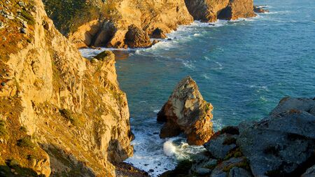 The rocky coast of Cape Roca in Portugal at the Atlantic Ocean - travel photography Stok Fotoğraf