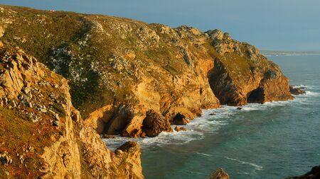Cape Roca - the famous Cabo da Roca coast in Portugal at sunset - travel photography Stok Fotoğraf