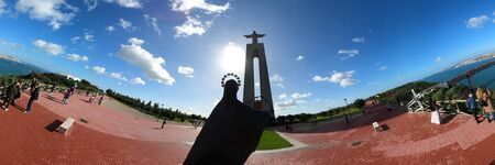 Panoramic aerial view over Christ statue on the hill of Lisbon Almada called Cristo Rei