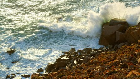 The rocky coast of Cape Roca in Portugal at the Atlantic Ocean