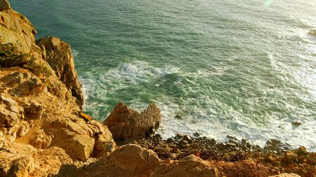 Wonderful place in Portugal - Cabo Da Roca at the Atlantic ocean coast - sunset view