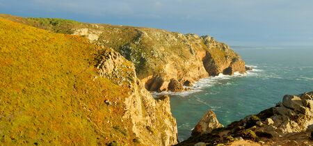 Sunset over Cape Roca in Portugal - the most western point of Europe Stok Fotoğraf
