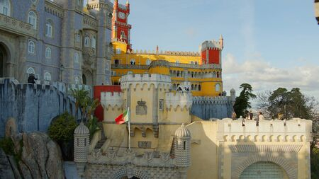 Wonderful castle of Palacio de Pena in Portugal Stok Fotoğraf