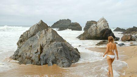 Beautiful Adraga Beach at the Atlantic Ocean coast in Portugal Stok Fotoğraf