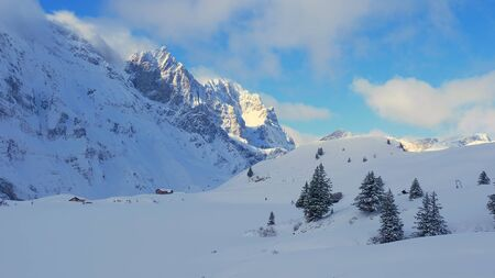 Beautiful ski areas and slopes in the Swiss Alps