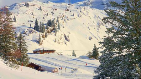 Drag lifts and ski slopes in the Swiss mountains