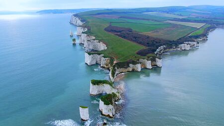 Old Harry Rocks in England - aerial view