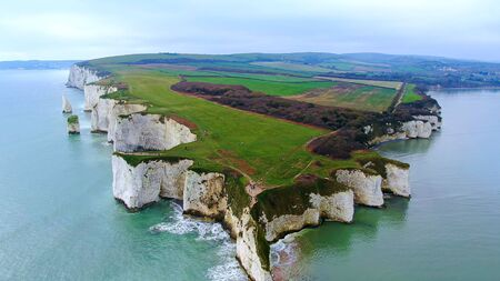 Old Harry Rocks in England - aerial view -aerial photography Banque d'images