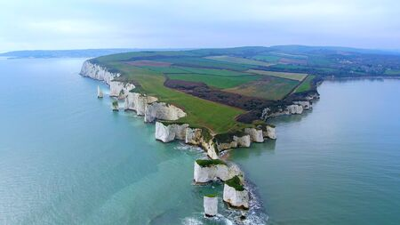 Spectacular aerial view over Old Harry Rocks in England -aerial photography