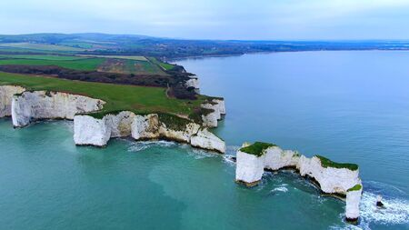 Old Harry Rocks in England - aerial view -aerial photography