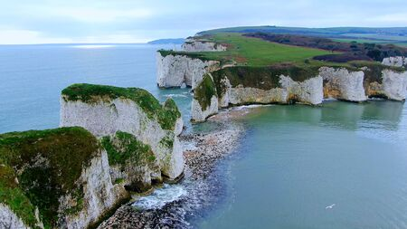 Spectacular aerial view over Old Harry Rocks in England