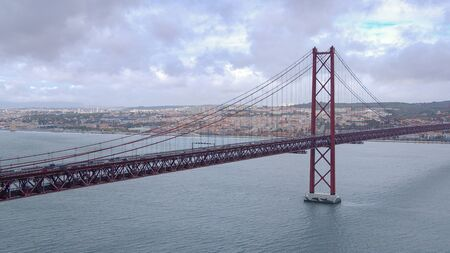 Famous 25th April Bridge over Tagus River n Lisbon - travel photography Stock Photo