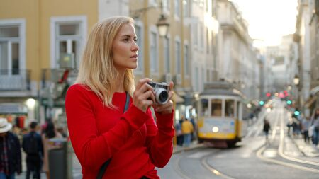 Blonde girl in the city of Lisbon Stock Photo