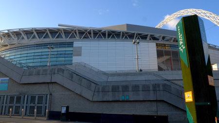 famous Stadium in Wembley London - LONDON, ENGLAND - DECEMBER 10, 2019 Editorial
