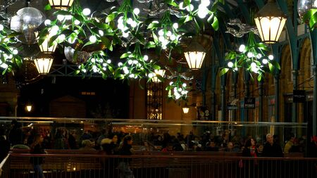Covent Garden London decorated at Christmas time - LONDON, ENGLAND - DECEMBER 10, 2019