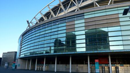 modern architecture Wembley Stadium London - LONDON, ENGLAND - DECEMBER 10, 2019
