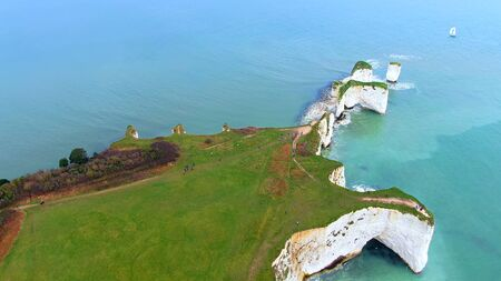 The beautiful English South Coast from above - drone footage Banque d'images