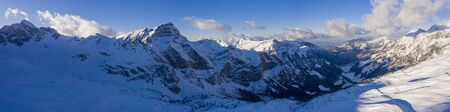 Wonderful snowy winter landscape in the Alps - panoramic view