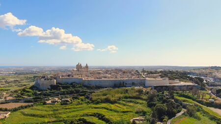 Aerial view over the historic city of Mdina in Malta