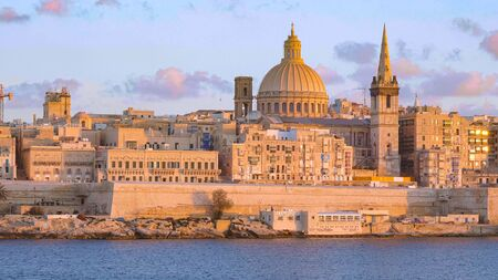 Typical and famous skyline of Valletta - the capital city of Malta Stock Photo