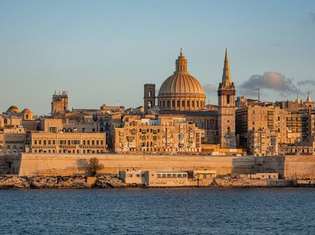 Typical and famous skyline of Valletta - the capital city of Malta - travel photography